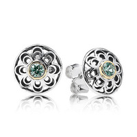 New Arrivals Brand Hot European Silver Jewelry for Earrings Green Synthetic Spinel Stud Earring 10pairs/lot