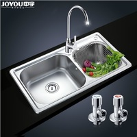 JY67006  304grade stainless steel double bowl Kitchen Sink with faucet