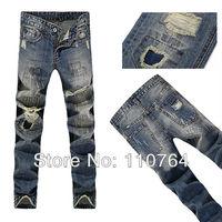 TOP! Low Rise 2014 D Jeans Men's Famous Brand Ripped Light Blue Denim Pants Washed Men Hole Jeans High Quality