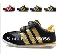 Free shipping Rubber leather sport boys girls children shoes sneakers Eur 24-35size