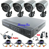 4Ch H.264 Full D1 Standalone DVR & 4pcs outdoor Cameras & 4pcs 20m cable  CCTV Systems  Kit