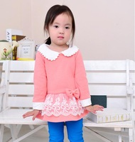 5pcs children's autumn and winter clothing female child children thickening peter pan collar long-sleeve lace one-piece dress