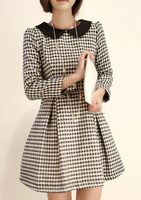 2013 new fashion peter pan collar houndstooth slim long-sleeve dress Spring autumn women elegant dress free shipping