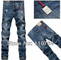 DSQ Jeans 2014 For Men Brand Design Vintage Scratched Denim Pants Washed Casual D2 Men Slim Blue Jeans 28-36