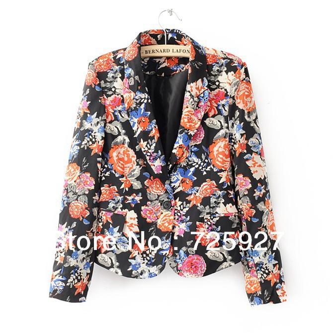 Hot sale 2013 New fashion women Blazer Brand designer outerwear Flower Floral print Blazer coat Lady Jacket suite(China (Mainland))