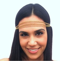Min order $15 (Can Mix Item)  Multi Layers Fashion Head Chain Simple Metal Chain Hair Jewelry Head Band
