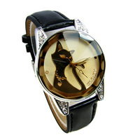 Gift enmex girl lourie cat watches tawers glass elegant women's diamond watch