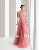 Free Shipping Dubai Style Pink Tulle Off shoulder Sashes A-line Prom Dress for wedding Party Bridesmaid PDM-0050
