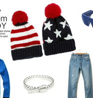 2013 new stars stripes wool knitted hat Winter hats Men Women accessories flag pompon Beanies black red wholesale 9939