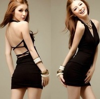 Sexy slim hip slim one-piece dress tight-fitting V-neck black summer
