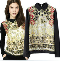 Fashion National Wind Restoring Blouse Ancient Ways Totem pattern After the Zipper Shirts S / M / L