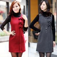 2013 spring sz slim ol woolen one-piece dress bow sleeveless tank dress