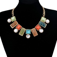 2013 New Arrival Statement Choker Necklace,Fashon Gold Plated Alloy Multicolor Glass Stone Short Collar Necklace,Free Shipping