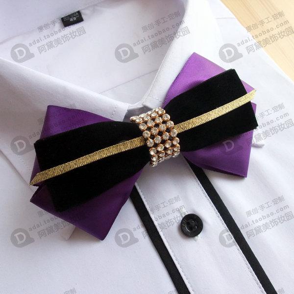 25eec0dc4fce Original design dark green black velvet deep purple diamond gold wedding  male the bridegroom bow tie Free shipping