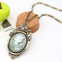 Min order $10(Mix order) Fashion Lady Cameo beauty portrait dream Necklace / sweater chain