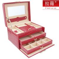 Jewelry box big princess fashion jewelry leather storage box accessories storage box birthday gift