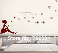 Romantic wall stickers dandelion stickers use for  living room tv wall sticker furnishings dancing girl