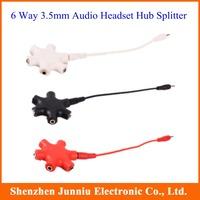 New Arrival 3 Color 6-Way 3.5mm Stereo Audio Headset Hub Splitter Headphone Splitter Free Shipping