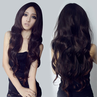 % 100 real hair free shipping Wig female long roll fluffy wig bangs non-mainstream wig girls