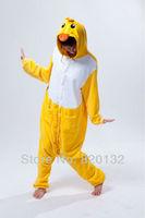 Free Shipping Yellow Duck Cartoon Animal Pajamas One Piece Anime Cosplay Costume Adult Unisex Onesies Women Jumpsuits