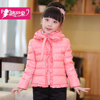 2013 female child wadded jacket outerwear girls cotton-padded coat,girl short style lace hem princess wadded parkas overcoat