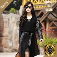 2014 Female genuine leather female clothing leather clothing long design sheepskin leather clothing outerwear /wdx525