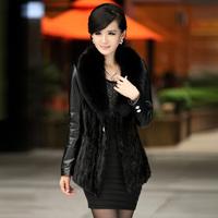 sh2014 Newest Fashion Lady Genuine Leather Jacket Women Fur Coat with Fox Fur Collar Outerwear Formal women fur coat
