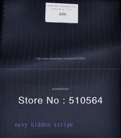 Free shipping 160s 100% worsted wool Custom made suit Men navy hidden stripe Suit Three pieces Suit ( jacket + pant + vest )
