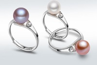 Free shipping Big Full Round Natural Pearl Ring Adjustable Ring Gift  White Pink Lavender Hot