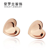 Double layer heart stud earring love titanium stud earring rose gold stud earring anti-allergic earrings female