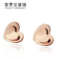 Double layer heart stud earring love titanium stud earring rose gold stud earring anti-allergic earrings female