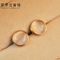 High quality - eye stud earring rose gold stud earring titanium 14k stud earring rose gold