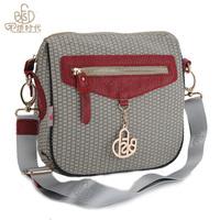 new brand women's handbag canvas match genuine leather one shoulder cross-body handbag casual messenger bag fashion