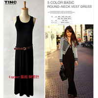Fashion spring and summer thin black modal ultra long spaghetti strap basic skirt one-piece dress female vest full dress