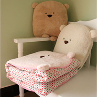 Pillow cartoon air conditioning beenz cushion is bear dual-use cushion is coral fleece blanket