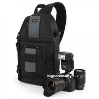 Genuine Lowepro SlingShot 202 AW DSLR Camera Photo Laptop Bag Backpack Rucksack for Canon Nikon Waterproof + Weather Cover Black