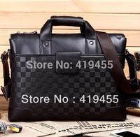Retail 2014 high quality hot sale brand handbag brown shoulder bag men briefcase genuine+pu leather messenger bag size:30x8x40cm