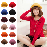 Hat autumn roll roll-up hem dome small fedoras female vintage woolen fashion cap millinery