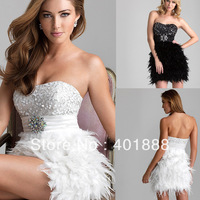 Short Sweetheart Strapless Sexy Top Sequins Beaded Plus Size White Feather Cocktail Dress