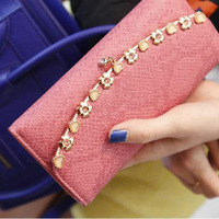 Fashion ladies elegant 2013 serpentine pattern gold flower design women's long wallet women's wallet