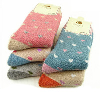 6 Pair/lot High quality thermal socks thickening women's thick towel sock cute winter wool socks