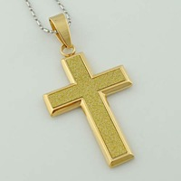 6.8cm*4.1cm,Fashion European Cross Gold-plated pendant necklace withe chain Men&Women Stainless Steel jewelry, Wholesale, VP733