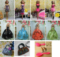 (11 items=4 crown dress+4casual dress +2bags+1comb) Christmass gift accessories For Barbie doll