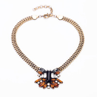 Min.order is $10(mix order)   accessories vintage crystal flower BIB pendant statement necklace 2013 Fashion women