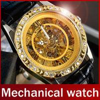 Fashion Brand Winner Leather Band Women Men Skeleton Automatic Mechanical Watch Men Women Dress Diamond Mechanical Wrist Watch