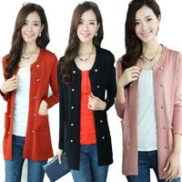 Long-sleeve medium-long female autumn cardigan sweater fashion outerwear
