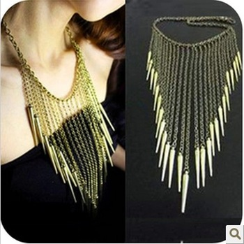 Sunshine jewelry store fashion punk body chain rivet tassel necklace collar necklace X338 (  $10 free shipping )