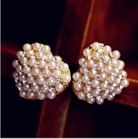 Min order is $10(mix order) rhinestone pearl love heart stud earring ol elegant earrings women crystal earrings EH527