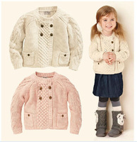 SW3099  children's  girl cotton  sweater jacquard double breast  cardigan /Girls sweater, kids cardigan coat, girls bow sweater