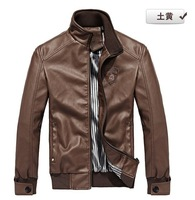 2013 fashion stand collar motorcycle leather clothing men's leather jacket male outerwear  100